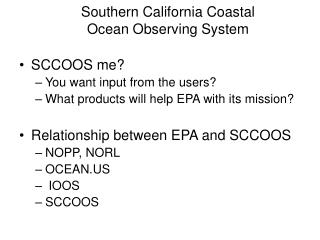Southern California Coastal  Ocean Observing System