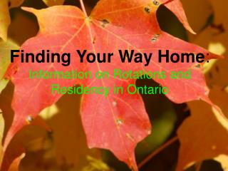Finding Your Way Home : Information on Rotations and Residency in Ontario