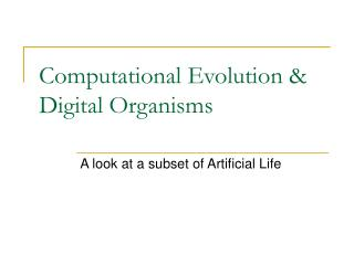 Computational Evolution & Digital Organisms