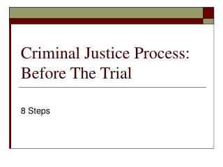 Criminal Justice Process: Before The Trial