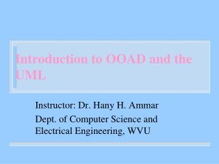 Introduction to OOAD and the UML