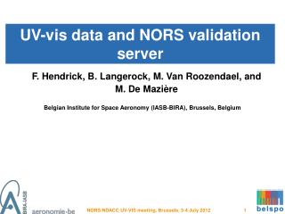 UV-vis data and NORS validation server