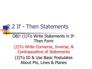 2.2 If - Then Statements