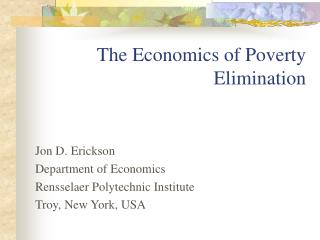 The Economics of Poverty Elimination