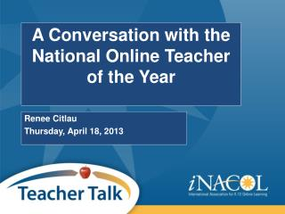 A Conversation with the National Online Teacher of the Year