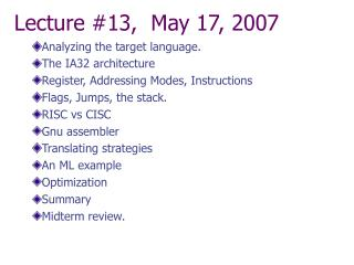 Lecture #13,  May 17, 2007