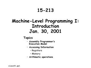 Machine-Level Programming I: Introduction Jan. 30, 2001
