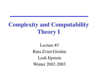 Complexity and Computability Theory I
