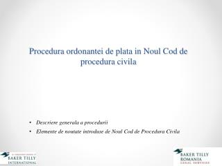 Procedura ordonantei  de  plata  in  Noul  Cod de  procedura civila