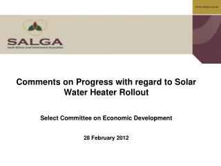 Comments on Progress with regard to Solar Water Heater Rollout