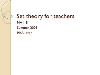 Set theory for teachers