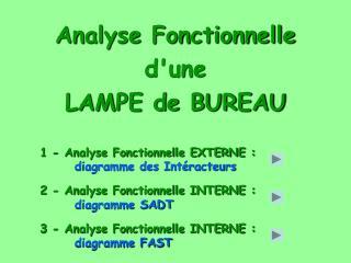 Analyse Fonctionnelle  d'une  LAMPE de BUREAU