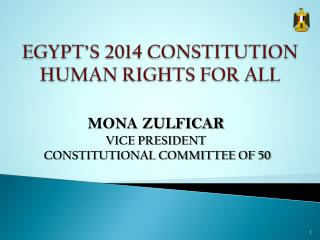 EGYPT'S 2014 CONSTITUTION HUMAN RIGHTS FOR ALL