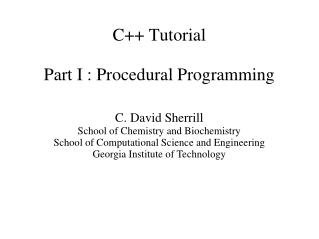 C++ Tutorial Part I : Procedural Programming