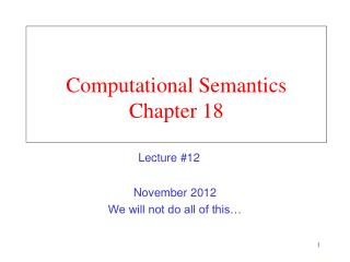 Computational Semantics Chapter 18