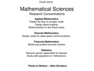 Mathematical Sciences Research Concentrations
