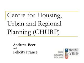 Centre for Housing, Urban and Regional Planning (CHURP)