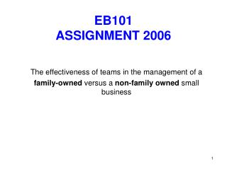 EB101  ASSIGNMENT 2006