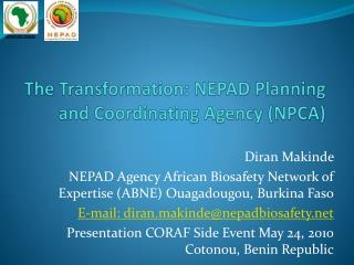 The Transformation: NEPAD Planning and Coordinating Agency (NPCA)