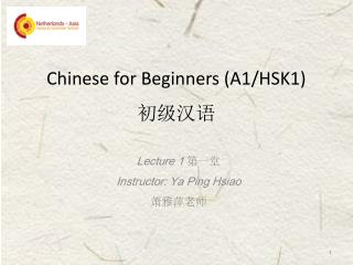 Chinese for Beginners (A1/HSK1) 初级汉语