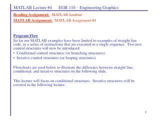 MATLAB Lecture #4      EGR 110 – Engineering Graphics
