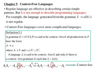 Chapter 5    Context-Free Languages