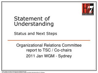 Statement of Understanding Status and Next Steps