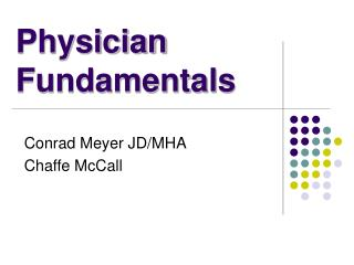 Physician Fundamentals