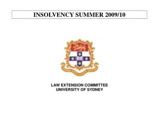 INSOLVENCY SUMMER 2009/10