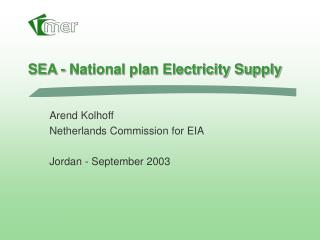 SEA - National plan Electricity Supply