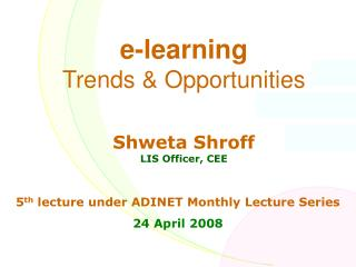 e-learning  Trends & Opportunities