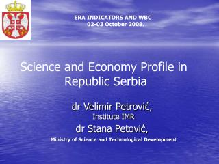Science and Economy Profile in  Republic Serbia