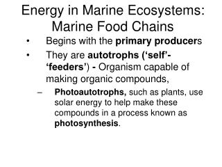 Energy in Marine Ecosystems: Marine Food Chains