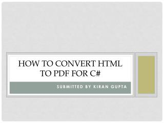 How to convert Html to pdf for c#