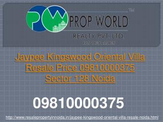 Jaypee Kingswood Oriental Villa Resale Price 09810000375 Sec