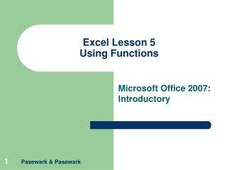 Excel Lesson 5 Using Functions