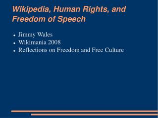 Wikipedia, Human Rights, and Freedom of Speech