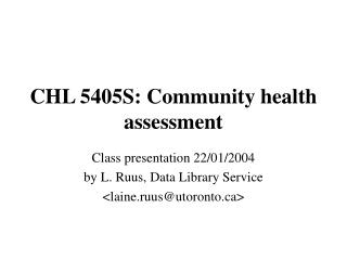 CHL 5405S: Community health assessment