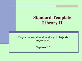 Standard Template Library II