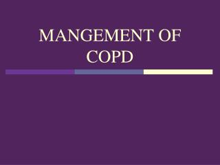 MANGEMENT OF COPD