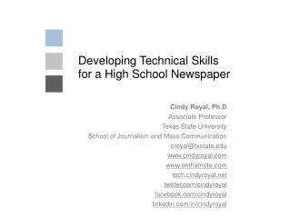 Developing Technical Skills for a High School Newspaper