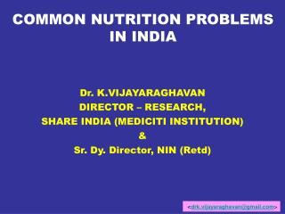 COMMON NUTRITION PROBLEMS IN INDIA
