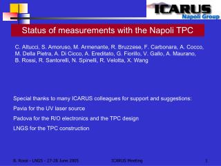 Status of measurements with the Napoli TPC