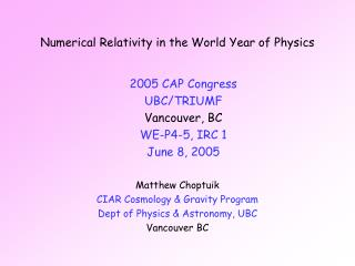 Numerical Relativity in the World Year of Physics