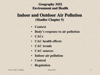 Indoor and Outdoor Air Pollution (Moeller Chapter 5)
