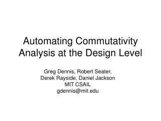 Automating Commutativity Analysis at the Design Level