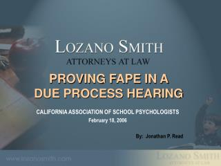 PROVING FAPE IN A  DUE PROCESS HEARING