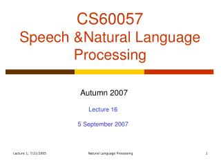 CS60057 Speech &Natural Language Processing