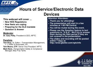 Hours of Service/Electronic Data Devices