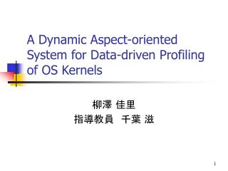 A Dynamic Aspect-oriented System for Data-driven Profiling of OS Kernels